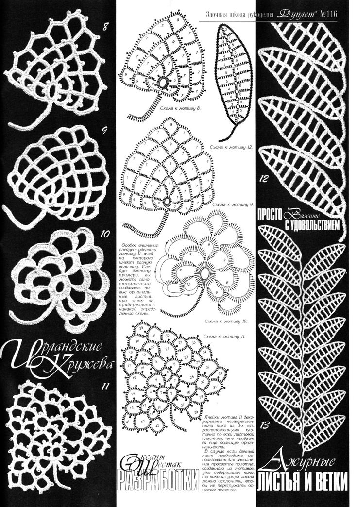 lace crochet leaves