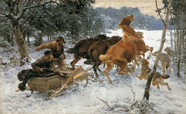 Alfred von Wierusz-Kowalski -  attack of wolves