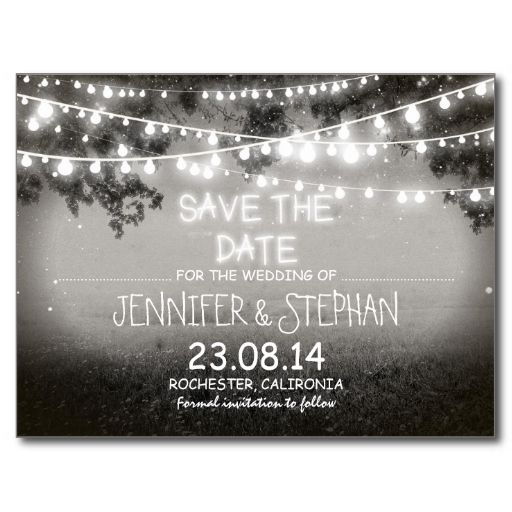 black and white night lights romantic save the date post card