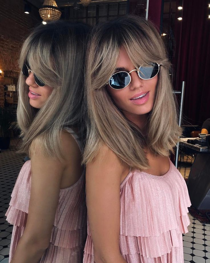 Blonde Balayage Hairstyle With Bang For Straight Hair