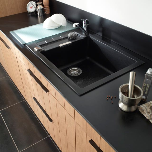 Évier granit à encastrer noir alios - castorama | evier | pinterest - Castorama Plan De Cuisine
