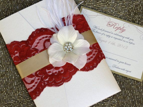 VINTAGE GLAMOUR   Red Lace Wedding Invitation   Customizable   Red And Gold  On Etsy,
