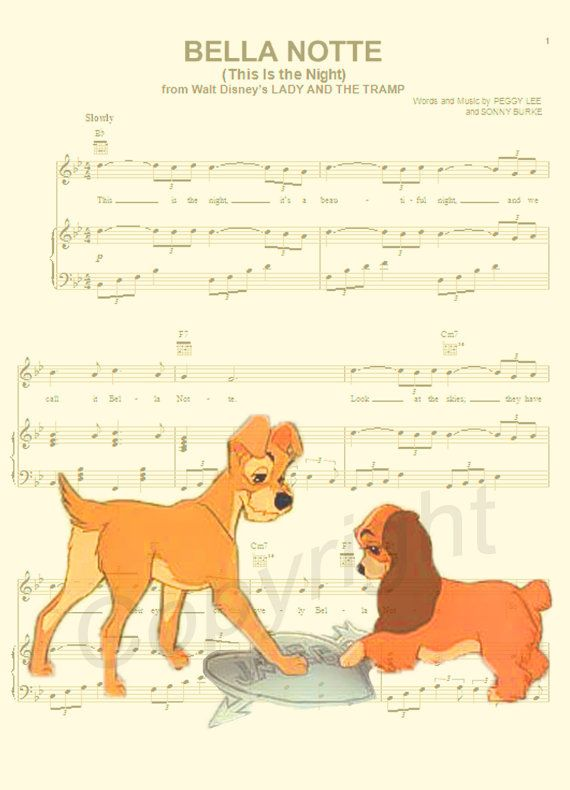 lady-and-the-tramp-music-sheet-art-print