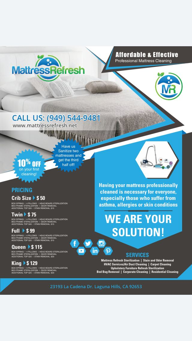 Hey folks, we understand that 1/5 Americans suffers from allergies or asthma. 4/5 homes in the US has detectible signs of dust mite allergen in at least 1 bed. And whether you feel it or not, we sweat out at least 1/2 pint of perspiration every night. Stop waking up with a stuffy or runny nose/eyes or cough. Call us today at 948-544-9481 and visit mattressrefresh.net for more! Serving Orange County/LA/SD