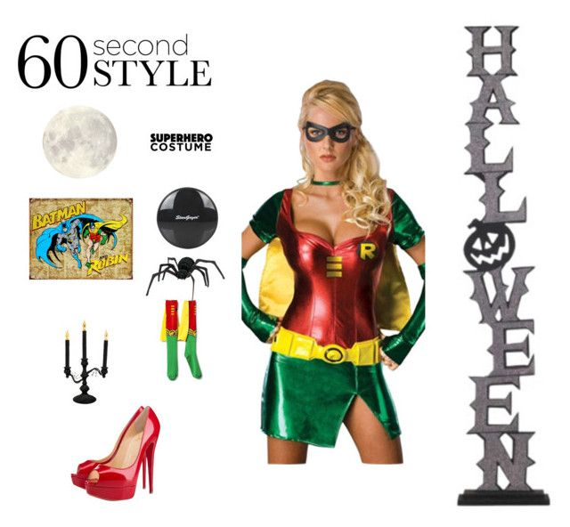 """""""Robin Halloween Costume"""" by divergentjen ❤ liked on Polyvore featuring Christian Louboutin, Sylvania, Topshop, Halloween, 60secondstyle and superherocostume"""