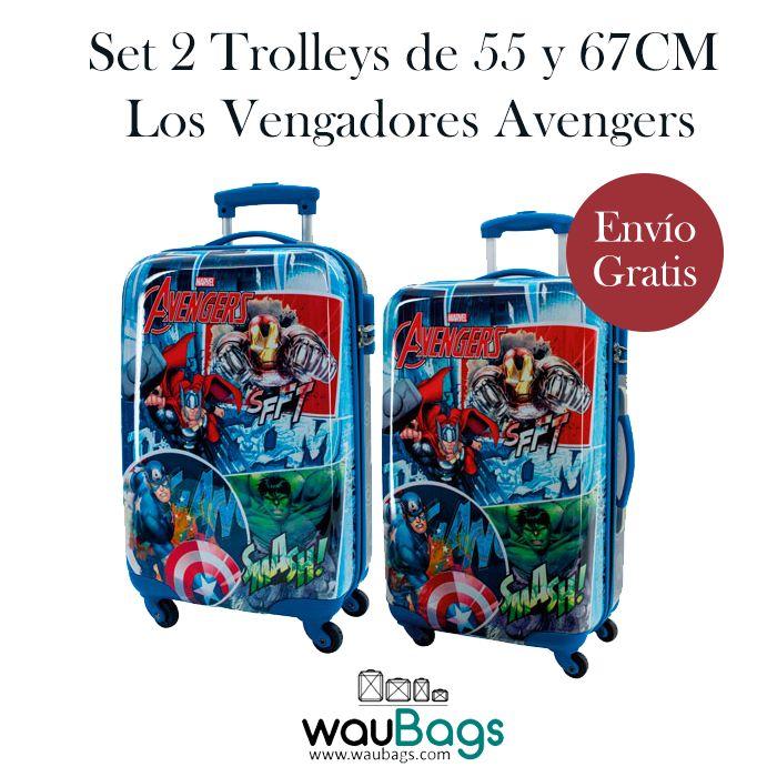 Set de viaje compuesto por 2 originales y prácticas Maletas Trolley Los Vengadores Avengers (una de ellas apta para cabina).  @waubags #losvengadores #avengers #maleta #trolley #viaje