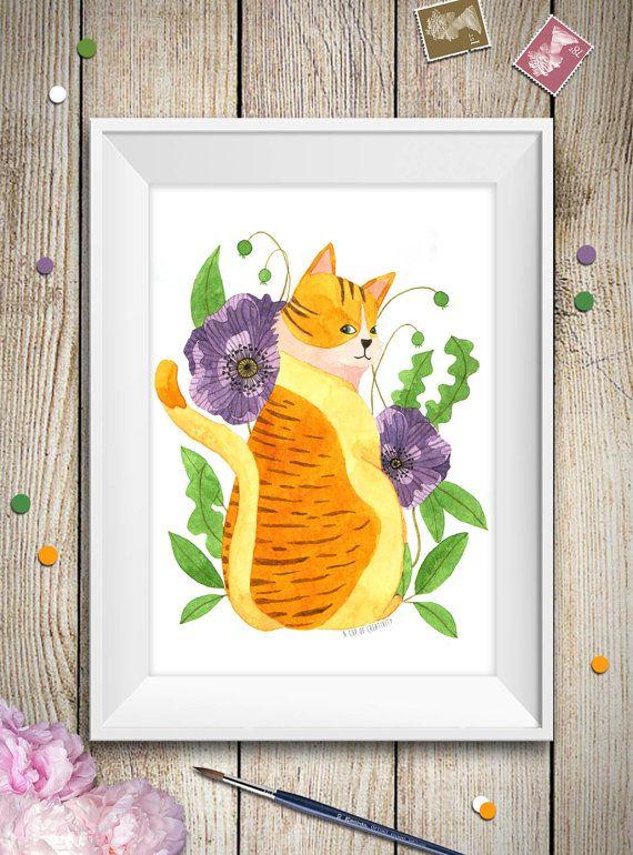 Questa è una stampa di un mio acquerello originale di un paffuto gatto arancione con decorazioni floreali di peonie viola e foglie, ideale come