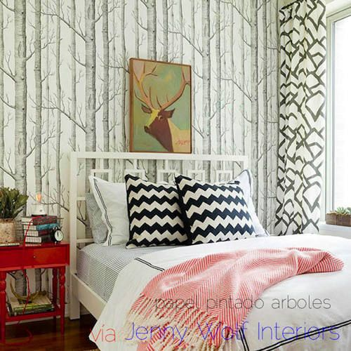papel pintado arboles blanco, telas & papel