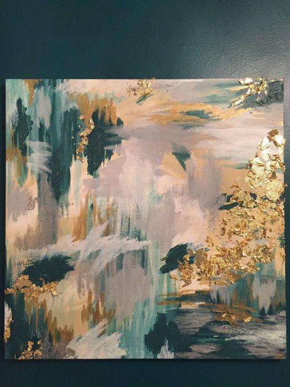 "Glam Gold Leaf Acryl abstrakt – Originalgemälde auf 20 x 20 ""Square Canvas – Petrol …   – Art"