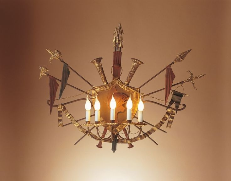 wrought #iron #chandelier with antique gold finish by effebiweb.com