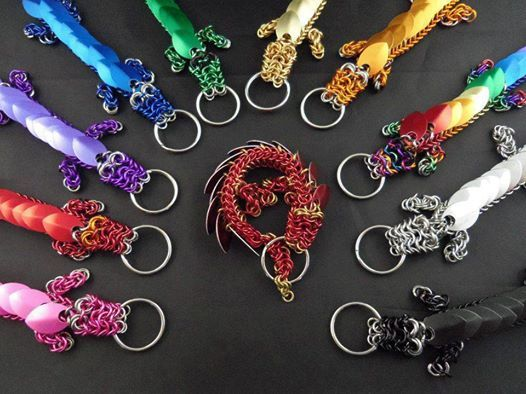 Chainmaille Dragon keychains - So cute and colorful!