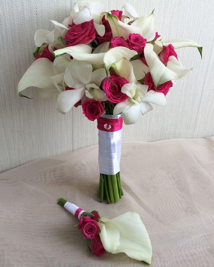 Букет невесты из калл и орхидей