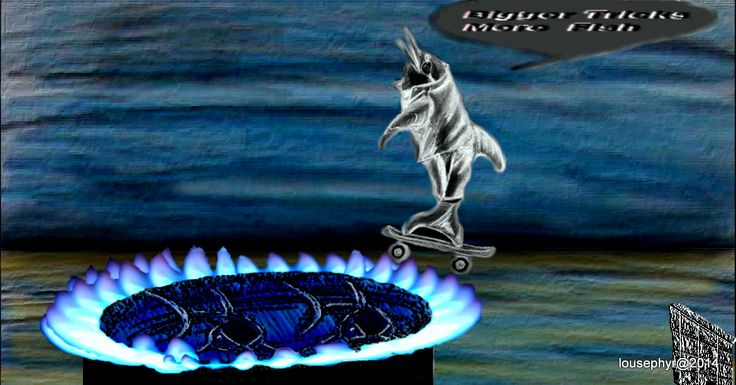 Dolphin Tricks; Bigger Tricks =more Fish;  to do with Marine Mammals preforming for Humans;  revamp of earlier drawing; effects by Gimp