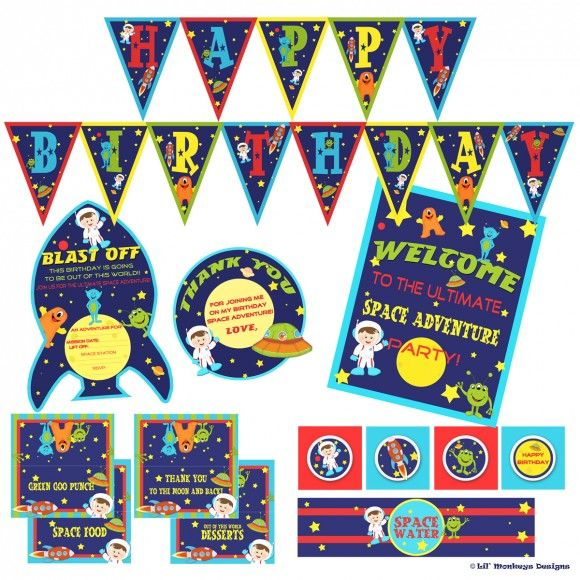 Free outer space party printables from lil 39 monkeys for Outer space design