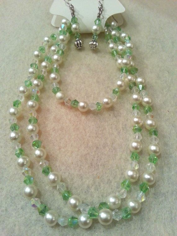 Elegant Set  Light Green Swarovski Crystal by FrantasticCreationz, $20.00