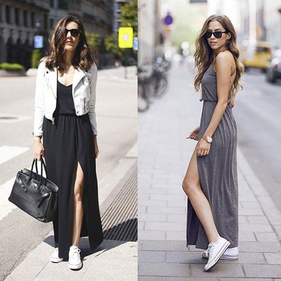 Look avec baskets Converse et robe longue fendue