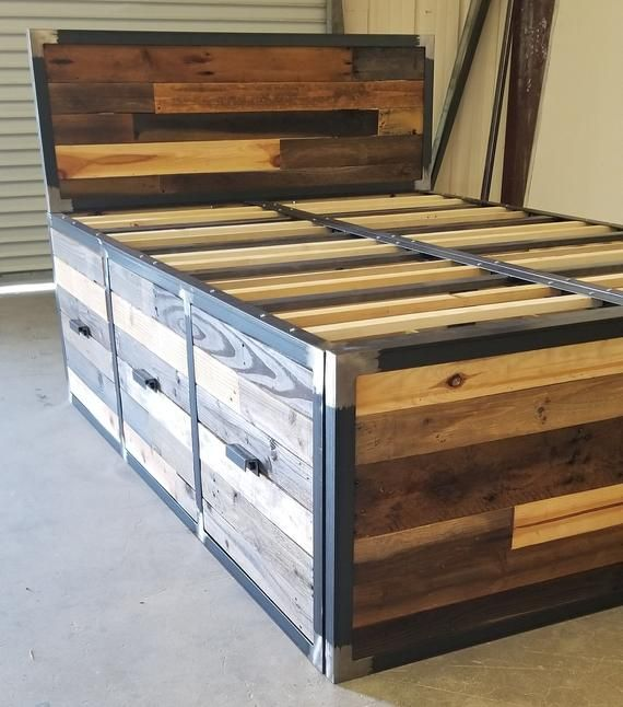 Industrial Reclaimed Wood Platform Storage Bed With Images
