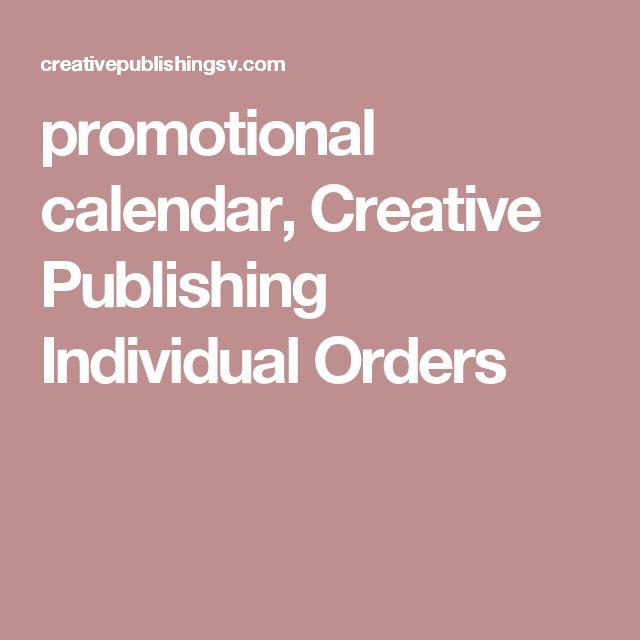 promotional calendar, Creative Publishing Individual Orders