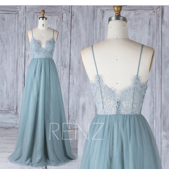 Prom Dress Long Boho Lace Dusty Blue Bridesmaid Dress Sweetheart Spaghetti Straps A-line Tulle Bridesmaids Dresses (HS548A)