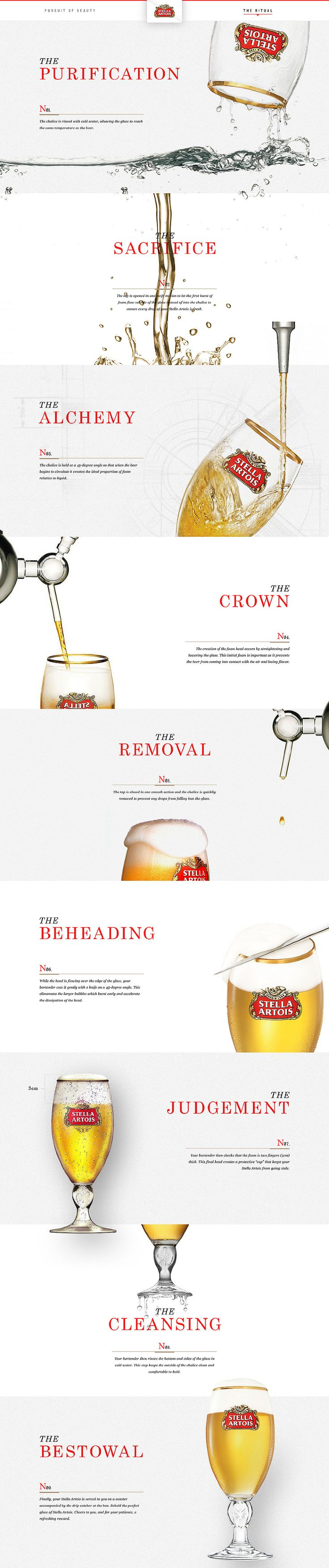 Stella Artois - Shape Layer - Portfolio of Bryan Le    Website design layout. Inspirational UX/UI design sample.  Visit us at: www.sodapopmedia.com #WebDesign #UX #UI #WebPageLayout #DigitalDesign #Web #Website #Design #Layout