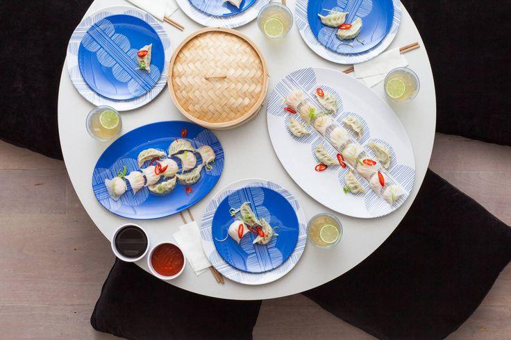 Yum Cha www.bzyoo.com #yumcha #chinesefood #food #foodstyling #foodphotography #blue #dumplings #style #design #tabletop #dinnerware #serveware