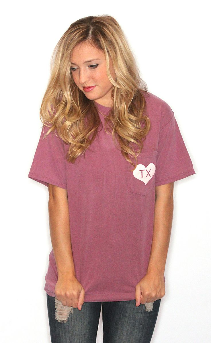 Pocket Love Texas Comfort Colors – Dark Maroon
