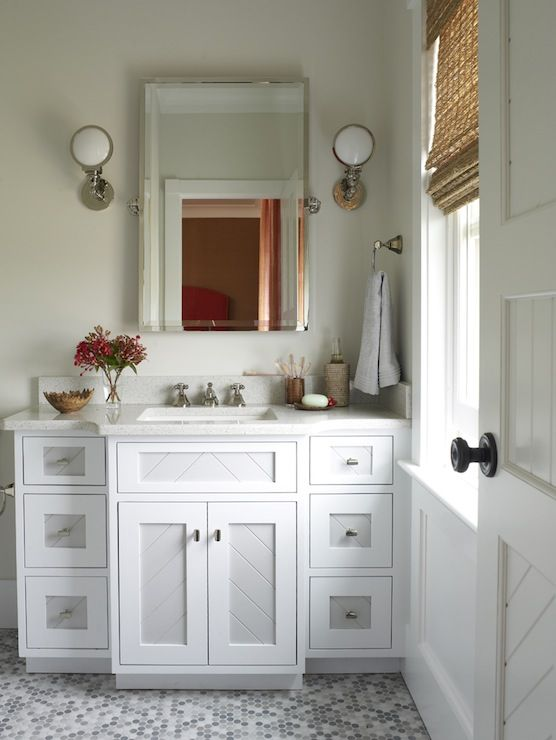 source phoebe howard stunning bathroom with marble mosaic tiles floor rectangular pivot mirror white single bathroom vanity with marble countertop