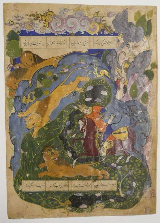 Bahram Gur, who has recently ascended the throne of Iran, rides into a wood and confronts the lions there. The hunting of lions was the archetypical sport of Persian kings