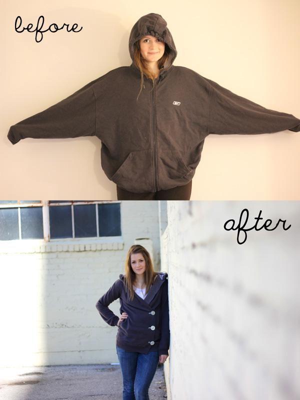 DIY Clothes DIY Refashion  DIY sweatshirt liposuction
