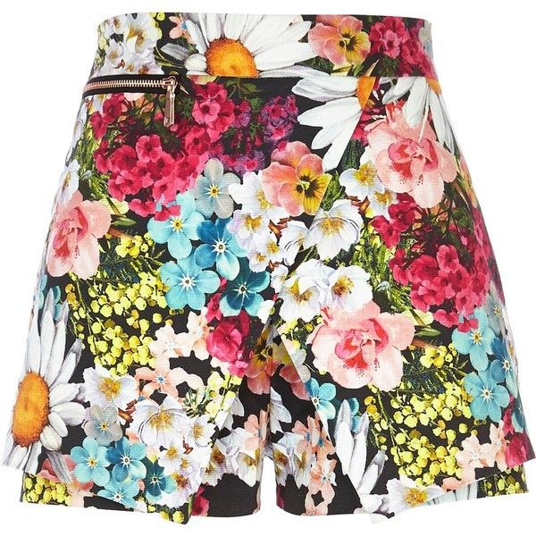River Island Pink floral print smart skort (£30) ❤ liked on Polyvore featuring skirts, mini skirts, shorts, bottoms, skort, golf skirts, pink floral skirt, floral skirts, flower print skirt and pink skirt