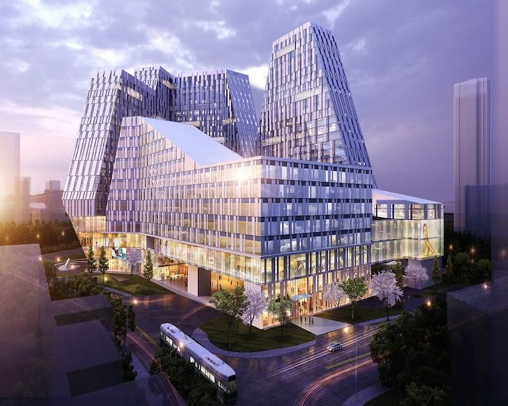 5+design stacks a dramatic mountain-inspired mixed-use project atop a transit hub in Shenyang