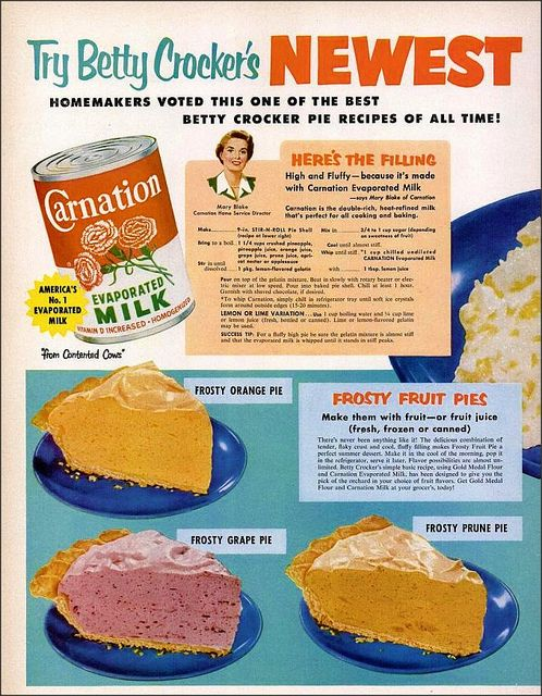 RECIPE: Frosty Fruit Pies | DATE: 1953 | SOURCE: Betty Crocker and Carnation Evaporated Milk Advertisement