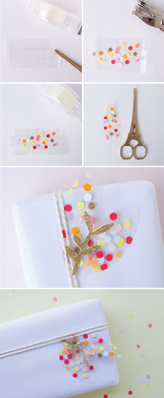 make a cute confetti leaf for your gift wrap with just sticky tape and paper scraps.
