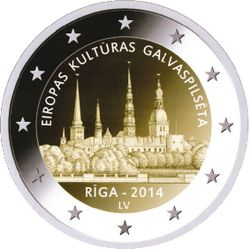 Latvian commemorative 2 euro coin - Rīga European Capital of Culture 2014