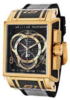 Invicta 11691 Reloj de los hombres S1 fibra de carbono Negro Dial acentos de tono de oro Swiss Made cronógrafo con correa de poliuretano
