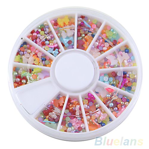 Over 500pcs Wheel Mixed Nail Art Tips Glitters Rhinestones Slice Decoration Manicure Nail tools sticker 031H 3AZP-in Stickers & Decals from Health & Beauty on Aliexpress.com | Alibaba Group