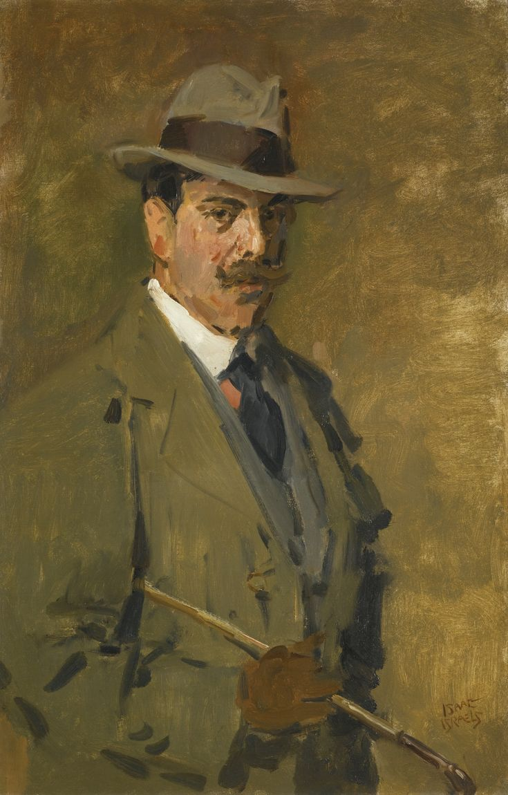 Isaac Israels 1865 - 1934 DUTCH HUNTSMAN HOLDING A RIDING CROP