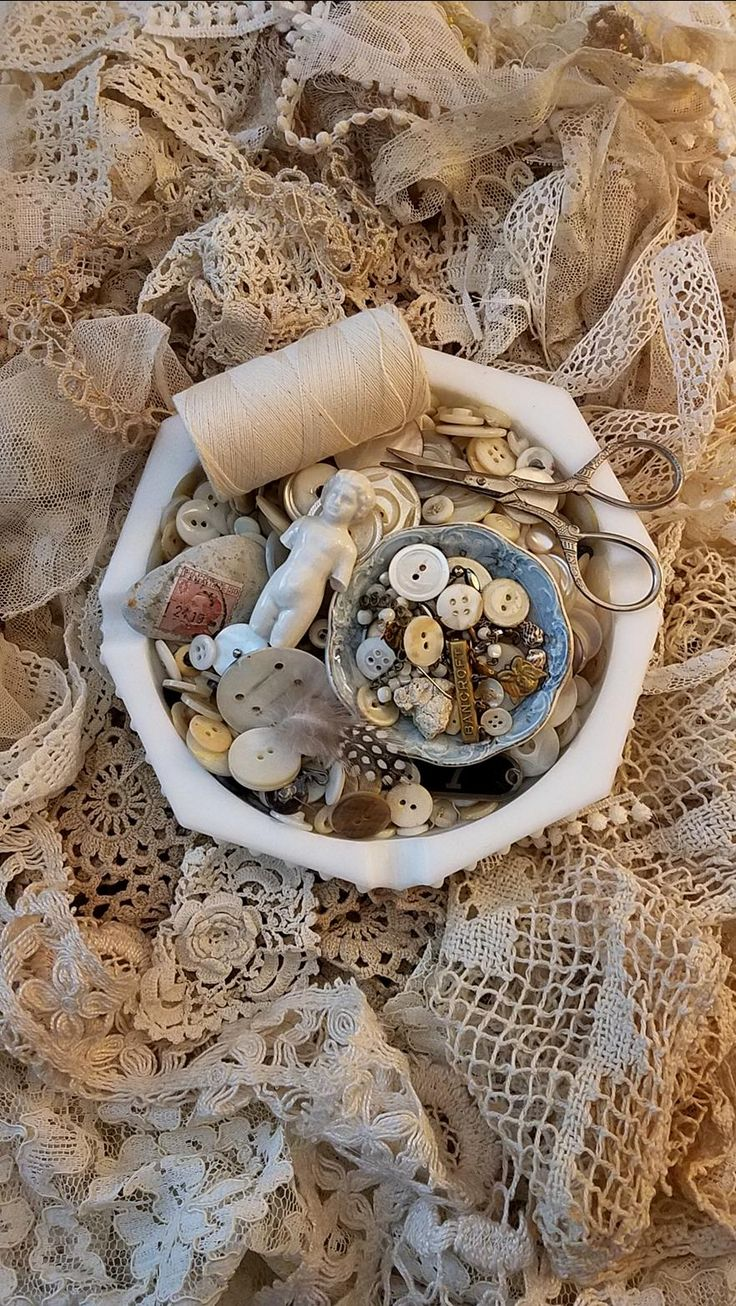 Vintage lace and buttons collection