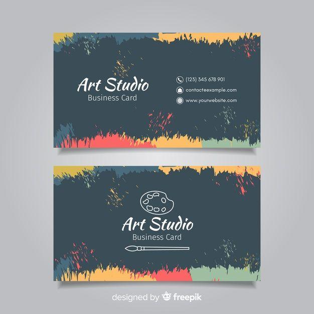 Blackboard Art Studio Card Template Illustration Business Cards Painter Business Card Graphic Design Business Card