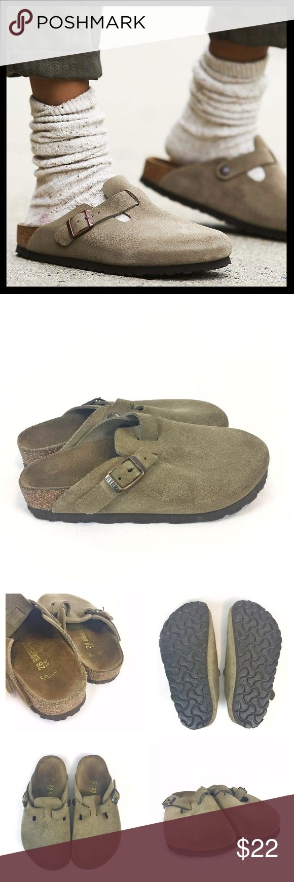 birkenstock // boston suede child's clogs • tan Classic Birks in miniature! Outfit your kiddo with one of the best brands in footwear. These well known German made suede clogs are comfortable and durable. Worn but no major flaws. Color is beige. Size is Euro 28, which according to the Birkenstock size chart fits like a US 11 (toddler's). They are unisex. Birkenstock Shoes