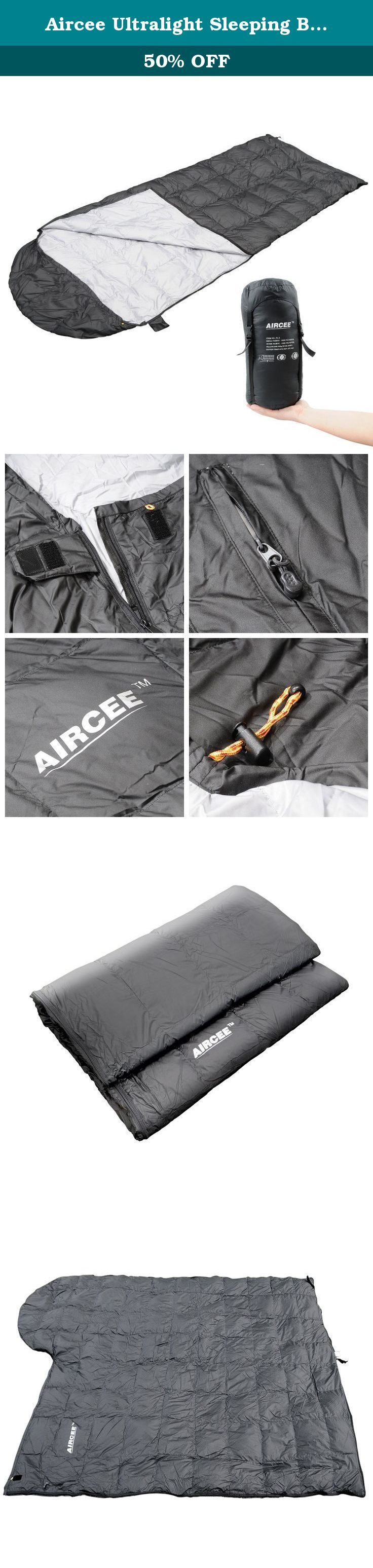 Aircee Ultralight Sleeping Bag with Compression Sack, 50-65 Degree, Cool Weather, 3 Season Lightweight Backpacking Sleep Sack for Camping, Hiking (Black). Aircee (TM) 50F Portable Ultra-Light Ultra-compact Down Filled Traveling Camping Backpacking Hooded Sleeping Bag (Black).