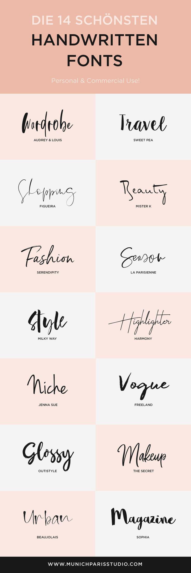 14 Beautiful Hand-Lettered Fonts for Logo & Branding | MunichParis Studio