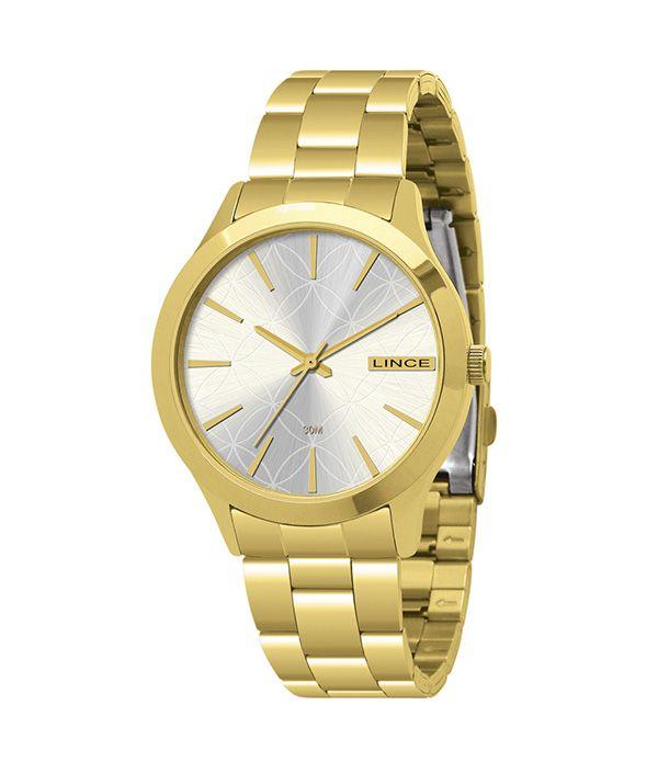 Relógio Feminino Lince LRGK018L S1KX Analógico 3 ATM com pulseira dourada.
