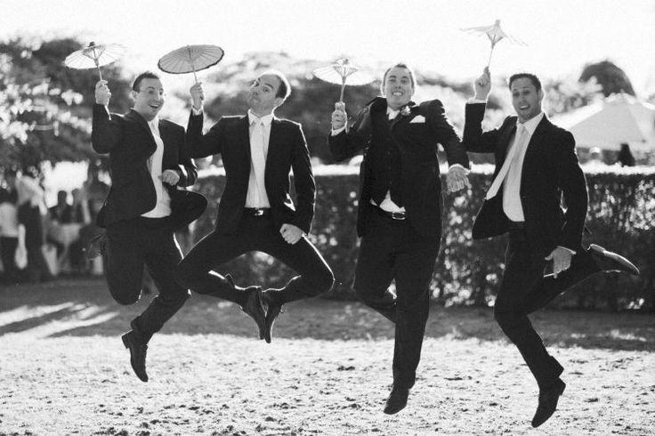 Jumping groom bestman