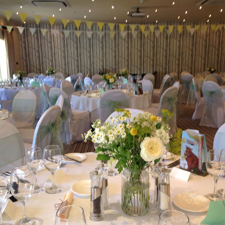 Chair covers with spring meadow sashes