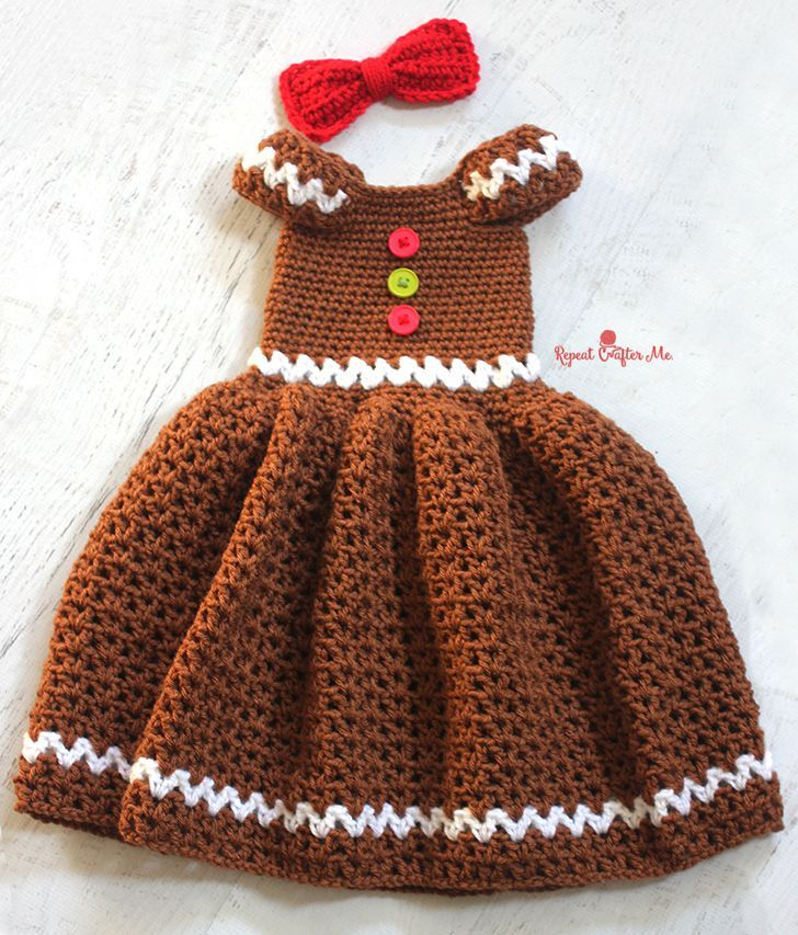 Gingerbread Girl Dress By Kara - Free Crochet Pattern - (repeatcrafterme)                                                                                                                                                                                 More
