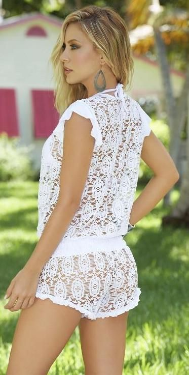 White Crochet Lace Romper