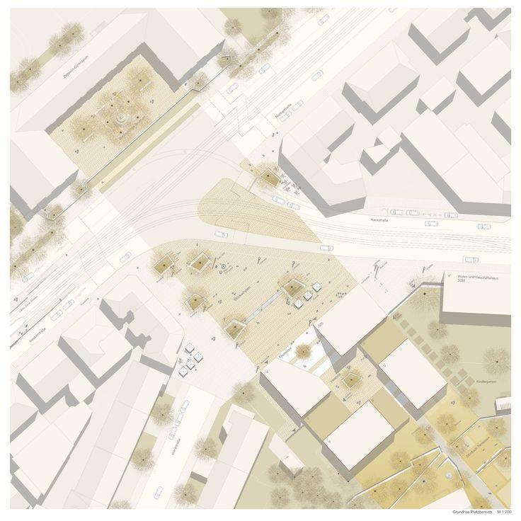 1. Preis Nach Überarbeitung: Grundriss Platzbereich M1:200, © Jetter Landschaftsarchitekten + Harris Kurrle Architekten – Claudia Wiegand