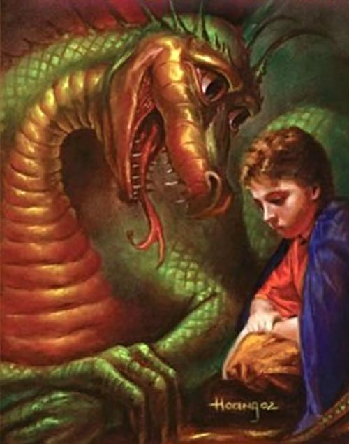 Gleep the dragon - Robert Asprin's MYTH adventures novels. From http://www.writeups.org/gleep-myth-asprin/