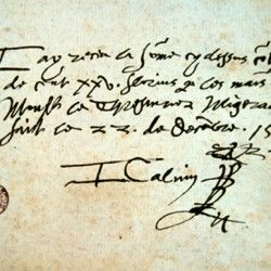 Autographe de Jean Calvin (22 décembre 1559)Musée Calvin de Noyon. - En 1533, il semble que Calvin prit part à la rédaction du discours de Nicolas Cop, recteur de l'université de Paris, où s'affirment des tendances favorables à la nouvelle théologie. Fuyant l'Inquisition, Calvin fit de fréquents séjours en Saintonge, puis en Angoumois et se réfugia à Bâle en 1536, où il publia en latin son livre fondamental: l'Institution de la religion chrétienne et auquel il ne cessa de travailler.